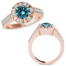 1.75 Carat Blue Round Diamond  Solitaire Halo Engagement Ring Set 14K Rose Gold