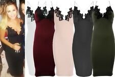 New Womens Celeb Inspired Cami Strap Lace Crochet Trim Bodycon Midi Dress 8-14