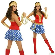 Wonder Woman Superhero Costume Halloween Super Hero Fancy Dress Party Outfit