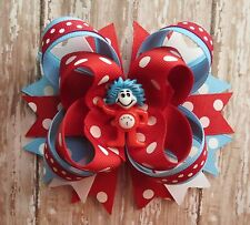 Dr Seuss Thing 1 or Thing 2 hair bow headband school Red Blue Cat-in-the-Hat