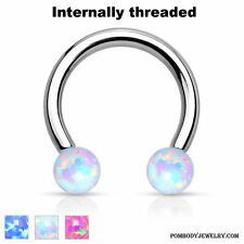 16G Steel Internally Threaded Horseshoe Circular Barbell Synthetic Opalite Ball