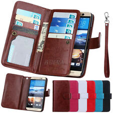 Premium PU Leather Card Slot Holder Purse Folio Flip Wallet Case For HTC One M9