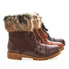 Warrior08 Faux Fur Ankle Cuff Lace Up Combat Woman's Boots