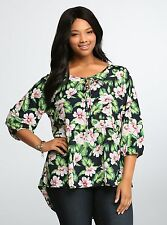 Torrid Top Tropical Floral Babydoll Blouse 0 1 2 3 4 5 6 NWT Printed Plus Size