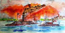 CIVIL WAR ART PRINT Battle of Ironclads Monitor vs Merrimack Union Confederacy