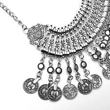 Chic Retro Ethnic Style Coin Tassel Pendant Collar Necklace Beautiful Lady Gift