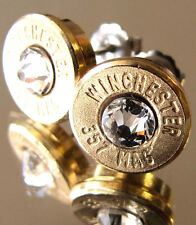 357 MAGNUM Winchester Bullet Earrings CHOICE Swarovski Crystal Gold Brass MAG