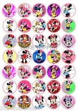 35 x MINNIE MOUSE  ROUND BIRTHDAY CUPCAKE TOPPERS EDIBLE WAFER CARD RICE PAPER
