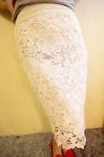 Women's hollow lace dress pencil skirt Free Shipping out water soluble white