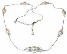 CLEAR AB Crystal & CREAMROSE Pearl Necklace Sterling Silver Swarovski Elements