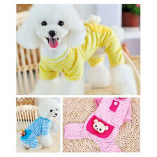 Small Pet Dog Stripes Pajamas Coat Cat Puppy Cozy Clothes Apparel Clothing XS-XL