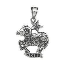 Aries  Charm Pendant Zodiac Sign Sterling Silver .925 Oxidized  Made In USA