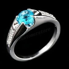 6.3*6.3 MM Blue CZ Ring Women's Aquamarine 18Kt White Gold Filled Size 6-10 Gift