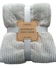 SUPERSOFT MICROFIBRE RIBBED STRIPE THROW 150 X 200cm   SOFT TOUCH