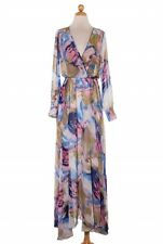 Blue Long Sleeve Chiffon Sexy Beach Dress Flare Out Maxi Elegant Colorful Gown