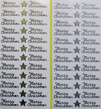 MERRY CHRISTMAS STYLE 3 PEEL OFF STICKERS GOLD OR SILVER