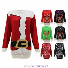 Ladies Womens Mens Knit Christmas Jumper Santa Reindeer Xmas Sweater Plus Sizes