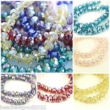 70 FACETED RONDELLE AB CRYSTAL GLASS BEADS 8 x 6mm Beading Crafts CHOOSE COLOURS