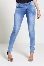 Womens Ladies Acid Wash High Waisted Rise Skinny Jeans Denims Size 6 8 10 121416