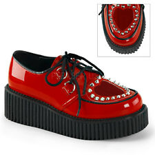 Demonia Creeper-108 Shiny Red Studded Platform Shoes - Gothic,Goth,Punk,Red,Cree