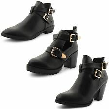 Womens Ladies Black Cut Out Chelsea Ankle Boots Mid Block Heel Shoes Size UK