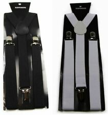 MENS EXTRA LONG 138CMS BLACK WHITE ELASTIC MEN'S BRACES ADJUSTABLE SUSPENDERS