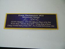 Fran Tarkenton Autograph Nameplate Minnesota Vikings Helmet Photo Ball Jersey
