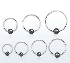 20GA Captive Bead Rings Steel with Black Hematite Plated Ball Nose Tragus Ears