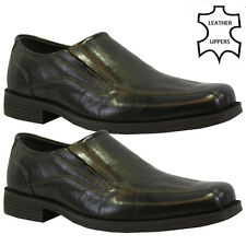 MENS LEATHER SLIP ON WEDDING SHOES FORMAL DRESS OFFICE WORK CASUAL PARTY SIZE