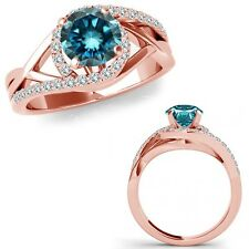 1.25 Carat Blue Diamond Crossover By Pass Solitaire Ring Band 14K Rose Gold