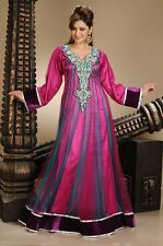 NEW GEORGETTE FANCY BRIDAL NEW ELEGANT CAFTAN ARABIAN ISLAMIC THOBE  DRESS  4362
