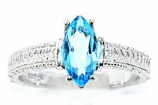1 Ct Blue Topaz Marquise Ring .925 Sterling Silver