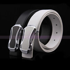 Genuine Leather Mens Sports Car Vehicle Buckle Waiststrap Belts Waistband Straps