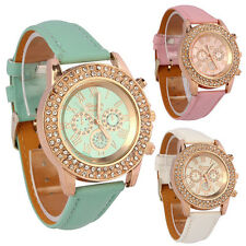 Vogue Women Watch Ladies Crystal Dial Analog Leather Bracelet Quartz Wrist Watch