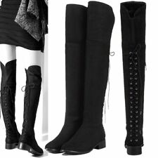 Size 5-10 Women Cow Leather Lace Up Side Zip Thigh High Over Knee Flat Boots