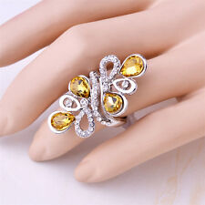 18K White Gold Plated Flower Yellow Crystal Wedding Ring Jewelry CZ Rhinestone