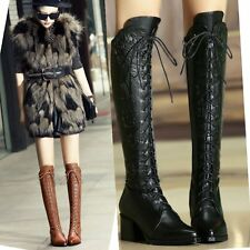 Size 5-10 Women's Lace Up Side zip Leather Knee High Boots Spike Studded Shoes