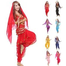 New Belly Dance Costume Set Top+ Pant + Hip Scarf & Head Scarf with Gold Coins