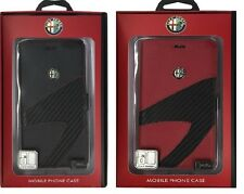Alfa Romeo leather book case with card slots for iphone 5/5s BLACK/RED US-SELLER
