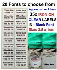 35x Clear Labels Black Font Iron On Name Labels Tags Printed - Size: 2.5x1cm