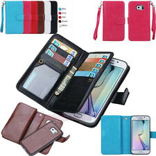 Practical Magnetic Detachable PU Leather Flip Card Wallet Case Cover for Phones