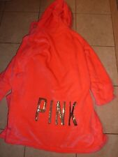 VICTORIAS SECRET PINK BLING SEQUIN VELOUR PLUSH SHORT HOODED ROBE ONE SIZE NWT