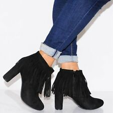 WOMENS TAN BLACK FRINGED TRIM ANKLE BOOTS FRINGES FAUX SUEDE HIGH HEELS SHOES