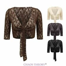 New Womens Ladies Knitted Lace Bolero Tie Up Crochet Shrug Wedding Top