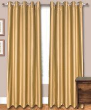 "Gold Faux Silk Curtains, 51"" (130 cm) Wide - Choice of PlainTop, Length, Lining"