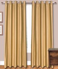 "Golden Faux Silk Dupioni Curtains, 51"" (130 cm) Wide. Chose Top, Length & Lining"