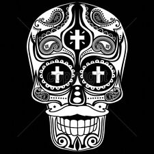 Big Sugar Skull Cross In Eyes Mustache White Ink Day Of The Dead T-Shirt Tee