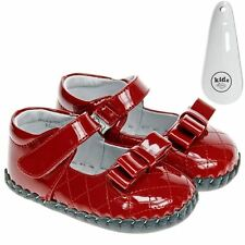Little Blue Lamb Girls Toddler Faux Leather Soft Sole Baby Shoes Red & Shoe Horn