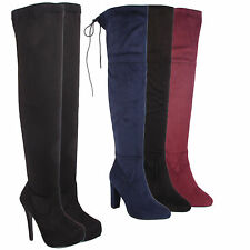 LADIES WOMENS AVIATOR OVER THE KNEE THIGH HIGH PLATFORM STILETTO HEEL BOOTS SHOE