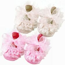 Baby Shoes Booties Soft Crib Sole Flower Lace Girls Pink Cream Non-Slip